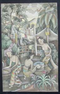 Stilisierte indonesische Dorfszenerie.