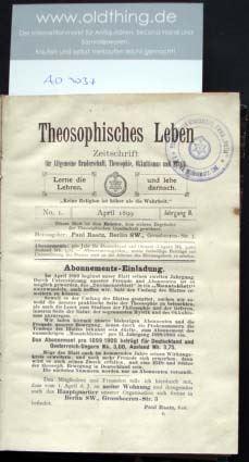Raatz, Paul (Hrsg.): Theosophisches Leben. - 2.Jahrgang.