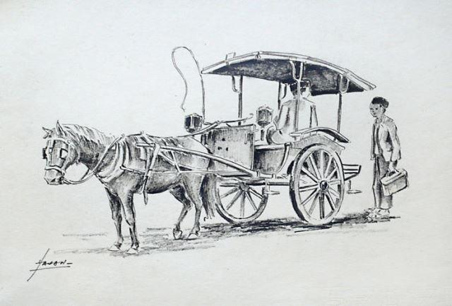 Indonesische Kutsche - Original Tuschzeichnung