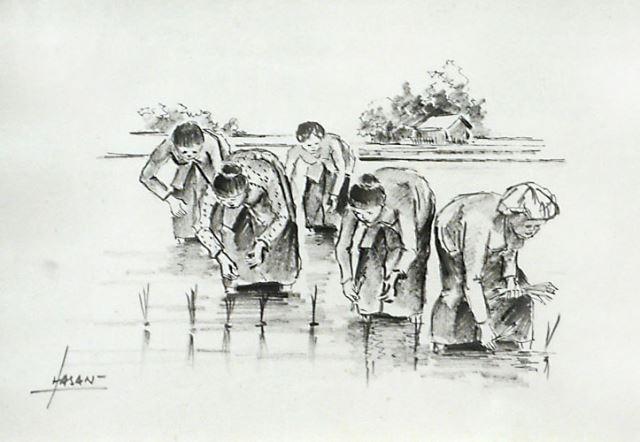 Bäuerinnen beim Reispflanzen - Original Tuschzeichnung