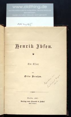 Brahm, Otto: Henrik Ibsen. Ein Essay.