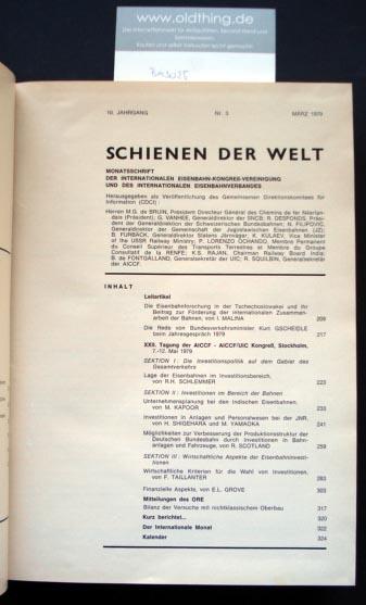 Schienen der Welt. Monatsschrift der internationalen Eisenbahn-Vereinigung und des internationalen Eisenbahnverbandes. 10.Jahrgang.