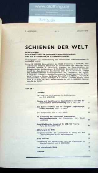 Schienen der Welt. Monatsschrift der internationalen Eisenbahn-Vereinigung und des internationalen Eisenbahnverbandes. 9.Jahrgang.