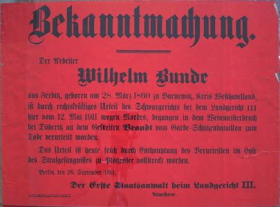Plakat: Hinrichtung Berlin 1911