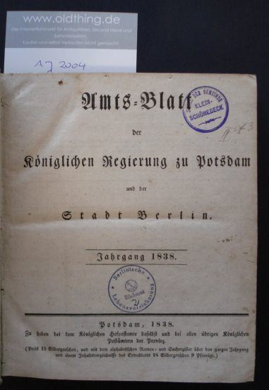 Amts-Blatt der Königlichen Regierung zu Potsdam und der Stadt Berlin. Jahrgang 1838.