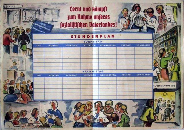 DDR Stundenplan - Lernt und kämpft zum Ruhme unseres sozialistischen Vaterlandes!