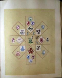 Album mit eingeklebten Prägemarken und Wappen um 1890