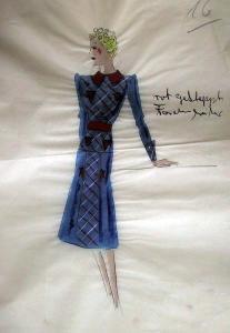 Kolorierter Original Kostümentwurf - 50er Jahre