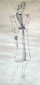 Original Kostümentwurf - 50er Jahre