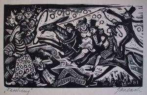 Original betitelter und signierter Holzschnitt von Gerlach?