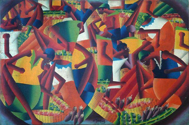 Exotischer Kubismus - Signiertes Ölgemälde