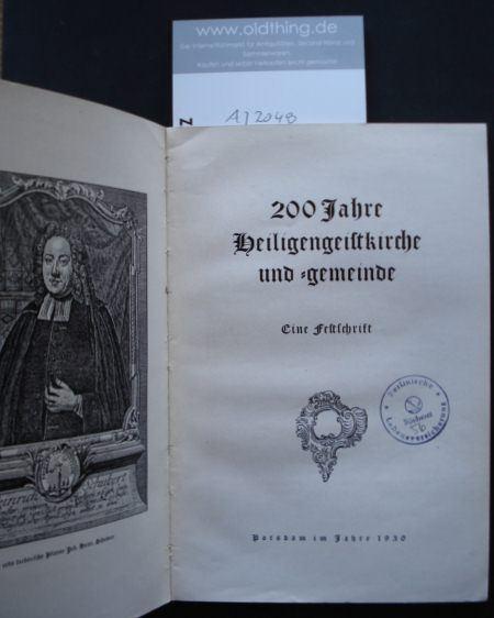 200 Jahre Heiligengeistkirche und -gemeinde. Ein Festschrift.