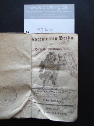 Tlantlaquatlapatli, [das ist: Seyfried, Heinrich Wilhelm]: Chronic von Berlin oder Berlinische Merkwürdigkeiten.