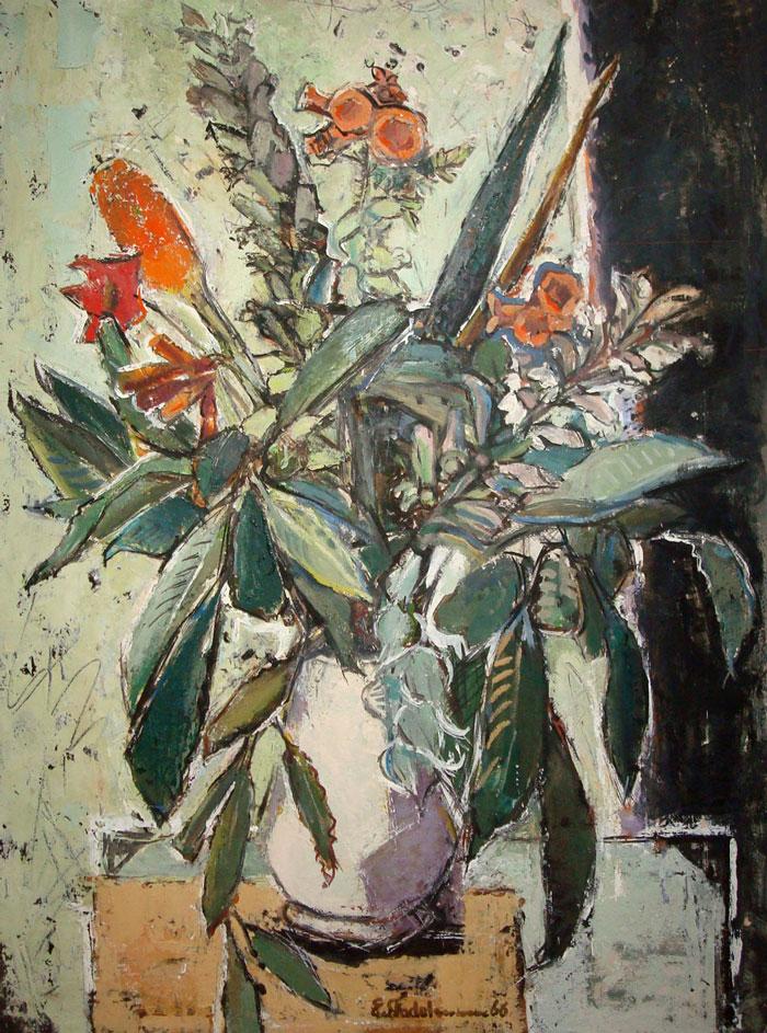 Ernst Stadelmann (1894 München - 1972 Rom). Stilleben mit Blumen in weißer Vase. 0