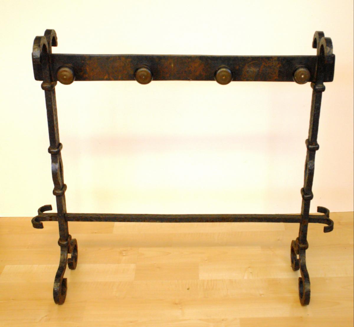 Antiker Kamingesteckhalter von 1763 Kaminbesteck Schmiedeeisen original 0