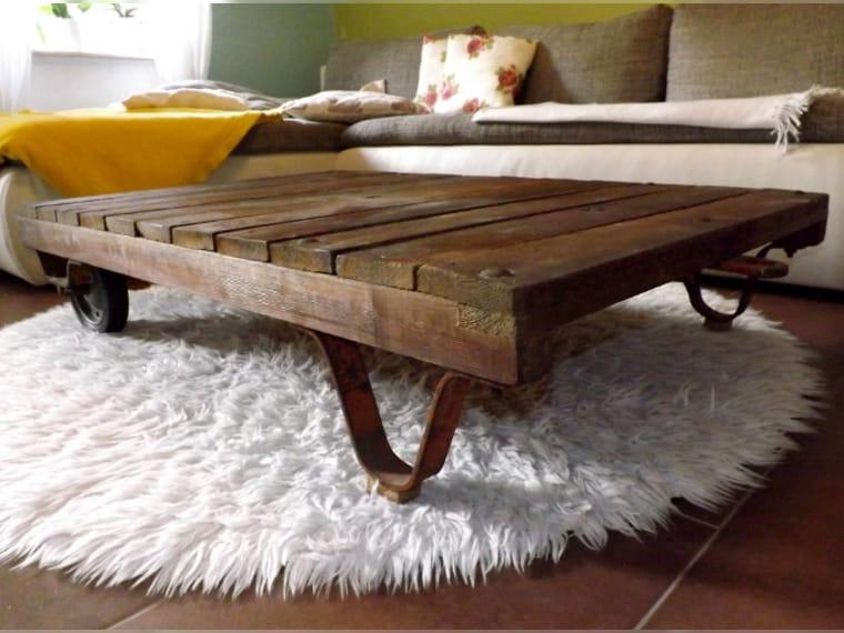 antik fabriklook couchtisch holztisch handmade unikat recykling m bel used look shabby chic. Black Bedroom Furniture Sets. Home Design Ideas