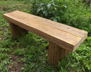 Gartenbank Sitzbank rustikal antik Balkenbank Landhaus Massiv Holz robust geölt