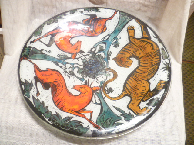 Glas Design Künstlerteller signiert MC  Jagdmotive  Vintage 1970 er  1