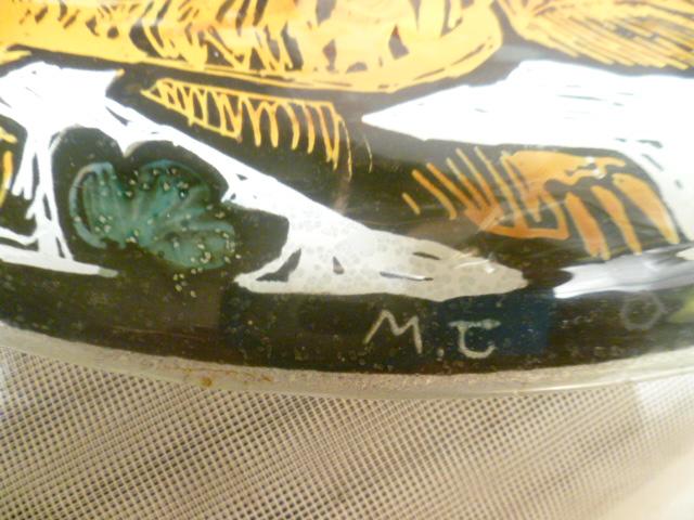 Glas Design Künstlerteller signiert MC  Jagdmotive  Vintage 1970 er  3