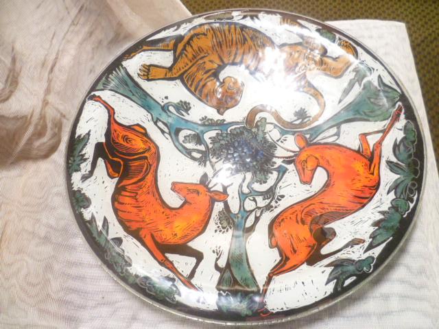 Glas Design Künstlerteller signiert MC  Jagdmotive  Vintage 1970 er  5