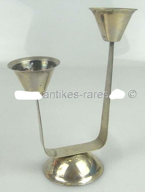Kleiner Kerzenleuchter in 835 (Ag) Silber, Halbmond & Krone Dt.