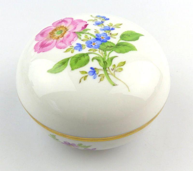 E3978 Kleine Meissen Porzellan Dose mit Deckel Deckeldose 1. Wahl mit Blumen