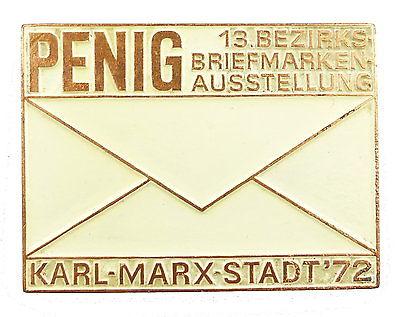 #e5341 DDR Plakette: Penig 13. Bezirks Briefmarken Ausstellung 1972