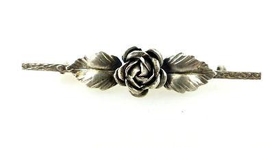 #e2005 Schöne alte Brosche aus 800 (Ag) Silber mit Rose 0