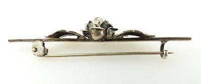 #e2005 Schöne alte Brosche aus 800 (Ag) Silber mit Rose 1