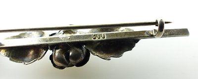 #e2005 Schöne alte Brosche aus 800 (Ag) Silber mit Rose 3