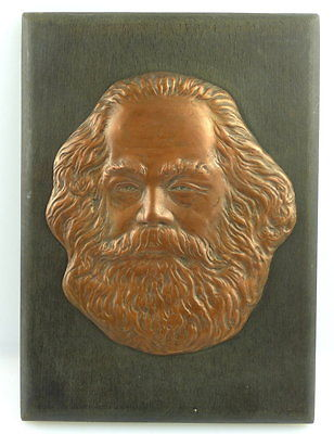 Bronze /Holz Wandrelief: Karl Marx DDR e1248