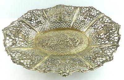 Dekorative Schale in 800er Silber mit Blumendekor und Kindern e1405 0
