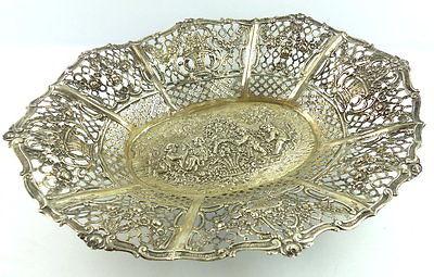 Dekorative Schale in 800er Silber mit Blumendekor und Kindern e1405 1