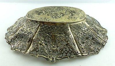 Dekorative Schale in 800er Silber mit Blumendekor und Kindern e1405 10