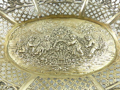 Dekorative Schale in 800er Silber mit Blumendekor und Kindern e1405 3