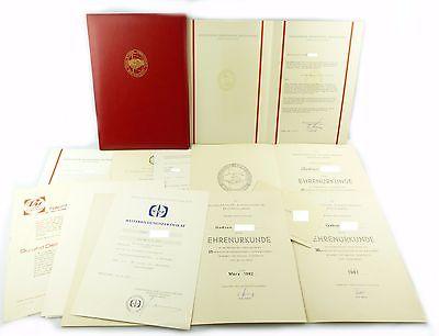 #e6675 Konvolut DDR Urkunden & Anschreiben mit dicker Mappe SED