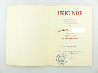 #e6757 DDR Urkunde: Verdienstmedaille der Deutschen Reichsbahn Stufe III 1982