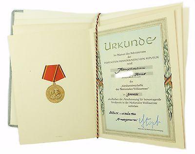#e6784 DDR Urkunden für Verdienstmedaille der NVA in Gold, Silber & Bronze 1960