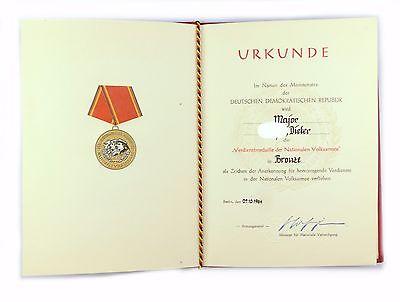 #e6998 DDR Urkunde Verdienstmedaille der NVA in Bronze verliehen 1964