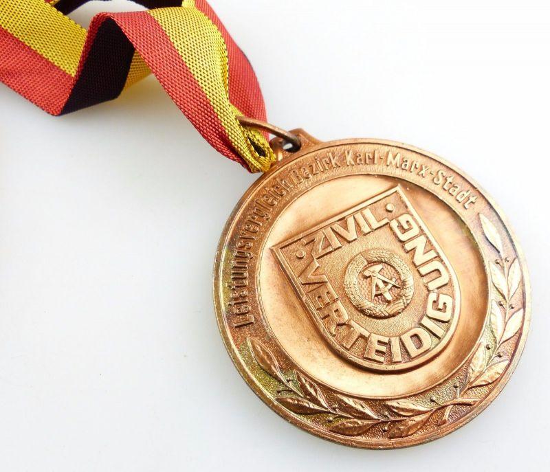 #e5535 DDR Medaille Bronze Leistungsvergleich Karl-Marx-Stadt Zivilverteidigung