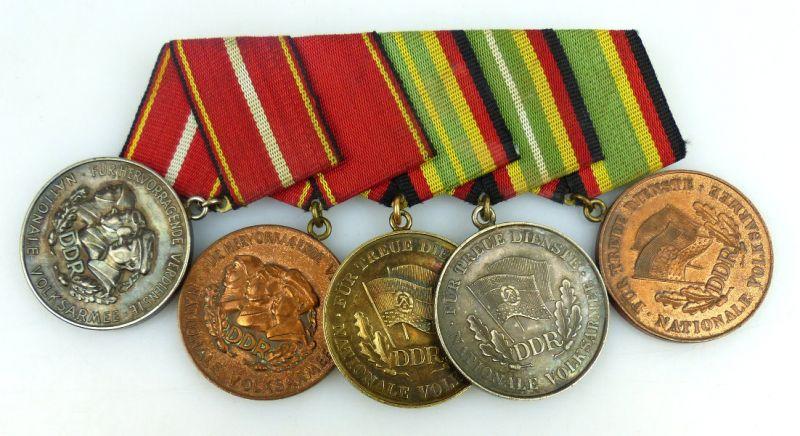Ordenspange: Verdienstmedaille NVA Silber, Bronze, Medaille treue Die, Orden1064