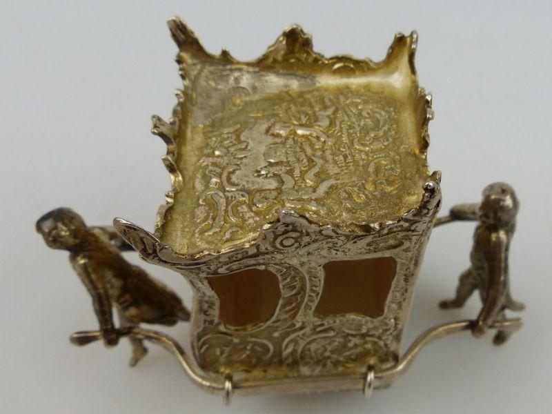 Dekorative Sänfte mit 2 Trägern in 925 Sterling Silber, norb768 1