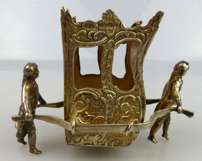 Dekorative Sänfte mit 2 Trägern in 925 Sterling Silber, norb768 3