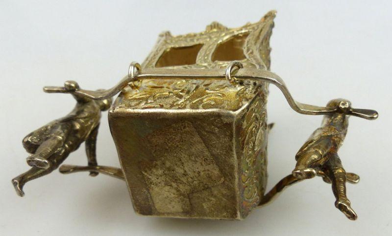 Dekorative Sänfte mit 2 Trägern in 925 Sterling Silber, norb768 5