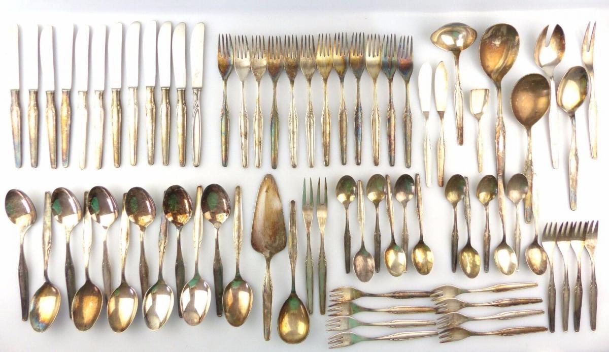 #e7557 Original altes versilbertes WMF Besteck 73 Teile 90er Silberauflage