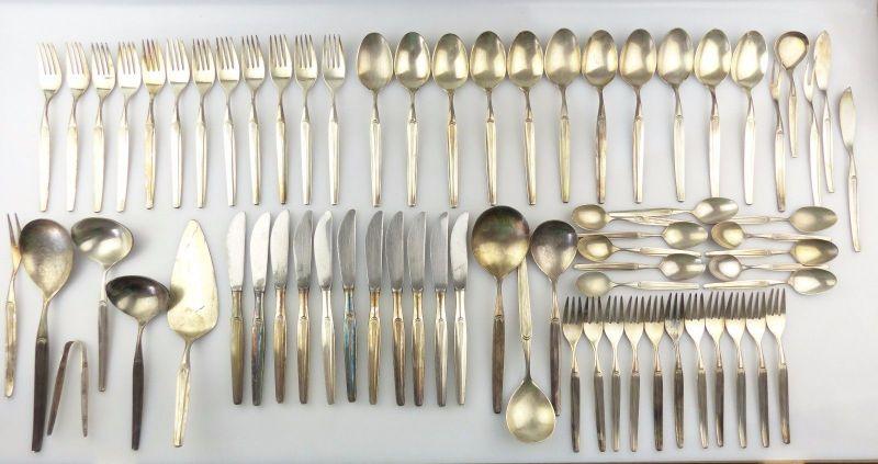 #e7556 Original altes versilbertes WMF Besteck 70 Teile 90er Silberauflage