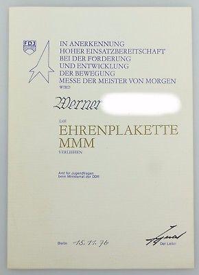 #e7651 Seltene Urkunde MMM v. 1976 aus Nachlass des Generaldirektors der Zentrag