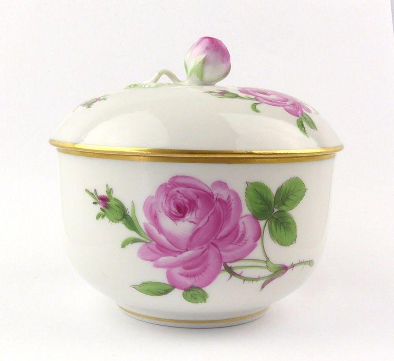 E7102 Meissen Porzellan Dose & Deckel mit Goldrand und Rose 2 Schleifstriche
