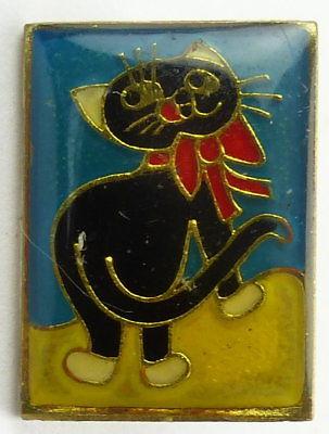 #e7989 Original altes DDR Abzeichen / Anstecknadel Katze mit Schleife