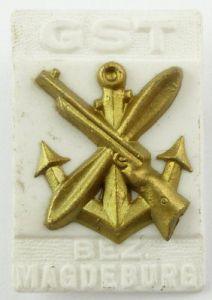 #e7871 DDR Festabzeichen der GST Magdeburg Nr. 987 GST-Emblem